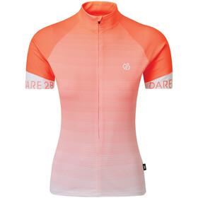 Dare 2b AEP Elaborate Koszulka rowerowa z zamkiem błyskawicznym Kobiety, fiery coral stripe print